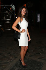 Michelle Keegan teamed her frock with ultra-high platform peep-toe pumps.