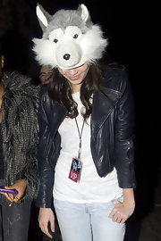 Daisy Lowe kept it fun with this wolf hat at Rihanna's concert.