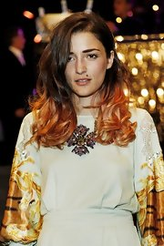Eleonora Carisi showed off a gemstone statement necklace at the Dolce & Gabbana fashion party.