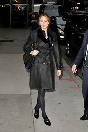 Jennifer Lawrence looked fiercely stylish in a black leather trenchcoat during her visit to 'Letterman.'