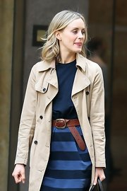 Taylor Schilling teamed a brown leather belt with a striped blue skirt for a day out in New York City.