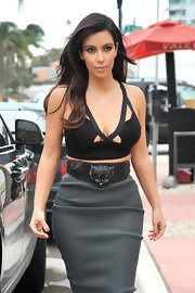 Kim Kardashian stepped out in Miami wearing an edgy Lanvin tiger belt.