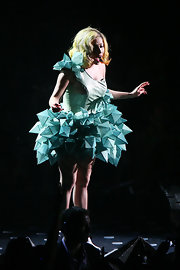 Lady Gaga went ultra modern in a sculptural one-shoulder frock for her performance in New York.