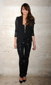Chrissy Teigen's sequined black skinnies and sheer-sleeve blazer at the Elle Fashion | Next event were a fabulous pairing.
