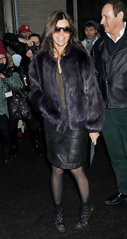 Carine Roitfeld was winter-glam in a black fur coat during Mercedes-Benz Fashion Week.