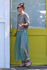 Kate Bosworth added an athletic touch to her look with a pair of colorful Isabel Marant wedge sneakers.