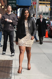 Mindy Kaling was tough-chic in a black leather biker jacket while headed to 'Letterman.'