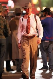 Ryan Gosling confidently wore a bright red tie with geometric print as he shot his upcoming film 'Gangster Squad.'