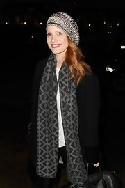 Jessica Chastain arrived for her play looking warm in a patterned gray scarf by Missoni.