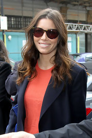 Jessica Biel wore her hair in long, casually tousled waves while visiting BBC Studios in London.