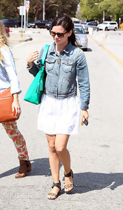 Rachel Bilson toughened up her LWD with a Gap denim jacket for a day at the salon.