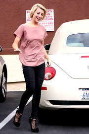 Chelsea Kane rehearsed for 'Dancing with the Stars' in lace-detailed black suede T-strap pumps.