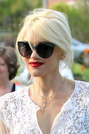 Gwen Stefani pulled her locks up into a messy-glam updo for an Easter party.