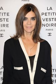 Carine Roitfeld sported a retro-chic flip hairstyle during the Chanel Little Black Jacket exhibition launch.
