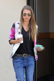 Jessica Alba grabbed coffee in LA looking chic in Jimmy Choo for Carrera tortoiseshell wayfarer shades.