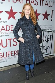 Jessica Chastain left the Walter Kerr Theatre looking stylish in a heavily embroidered black coat.