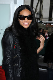 Chanel Iman was out and about during New York Fashion Week looking cool in her wayfarers and leather jacket.