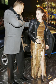 Kristen Stewart was edgy-glam in strappy, open-toe booties by Christian Louboutin teamed with a sequined gown and a leather jacket at the Berlin premiere of 'The Twilight Saga: Breaking Dawn – Part 2.'