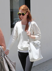 January Jones looked cool wearing these neon-framed shades while out in Beverly Hills.