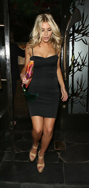 Mollie King teamed her sexy dress with ultra-high platform sandals by KG Kurt Geiger.