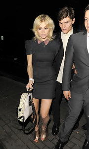 Pixie Lott styled her frock with a fab pair of gold peep-toe booties.