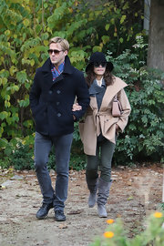 Ryan Gosling sported a pair of classic skinny  jeans to balance his bulky coat as he strolled around Paris.