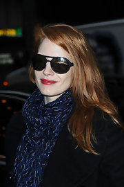Jessica Chastain arrived for her Broadway play wearing a pair of sporty shades.