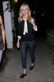 Kate Bosworth completed her preppy look with a pair of embellished black loafers.