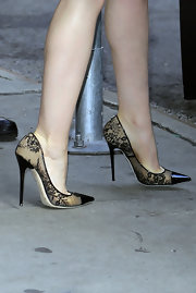 Lily Collins chose simple lace Jimmy Choo pumps for her appearance on 'Good Morning America'.