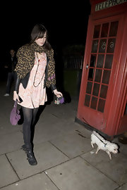 For extra warmth, Daisy Lowe accessorized with a leopard-print scarf.