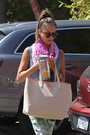 Jessica Alba showed off a personalized Misela tote while out and about in LA.