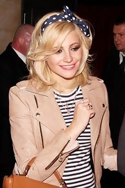 Pixie Lott sweetened up her look with a polka-dot headband for a night of clubbing.