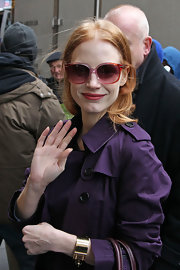 Jessica Chastain stepped out in New York City wearing a luxurious Louis Vuitton gold cuff.
