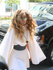 Lady Gaga headed to a recording studio in New York City wearing a chic gold pendant by Chanel.